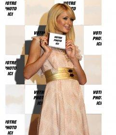 """Photomontage de Paris Hilton en arrière-plan et vous apparaîtra sur la page de titre d""""un CD, elle est affichée"""