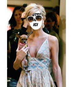 Effet photo pour mettre votre visage sur le corps de Paris Hilton avec son chihuahua