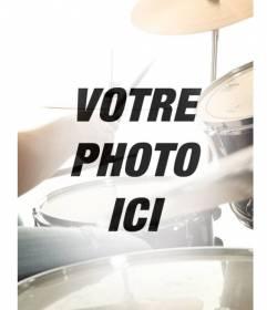 Collage avec une image de musique batterie semi-transparent qui se confond avec votre image