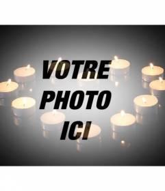 Amour photomontage pour ajouter une image avec des bougies formant un coeur sur fond noir