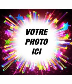 Cadre pour les photos avec des étoiles colorées