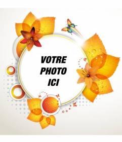 """Ronde cadre photo avec des feuilles d""""automne et les papillons"""