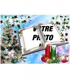 Carte de Noël avec un montage sous forme de livre avec des embellissements