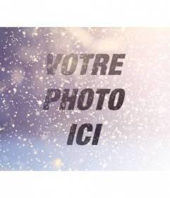 Filtrer éditer des photos en ajoutant des paillettes sur fond bleu et violet clair
