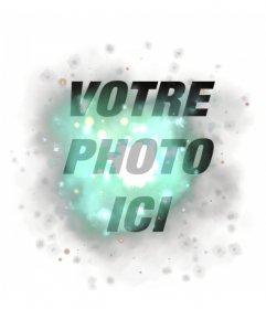 Retouchez facilement vos photos avec un filtre explosion turquoise avec des lumières brillantes et des étincelles magiques dans un simple et gratuit