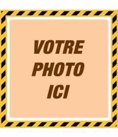 Frame style de danger jaune et noir photo avec un filtre orange pour personnaliser vos photos