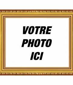 Cadre photo bois jaune et or réaliste pour personnaliser et décorer vos photos