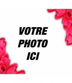 Ajoutez à vos photos damour dun cadre de fleurs rouges pour leur donner un look romantique en ligne