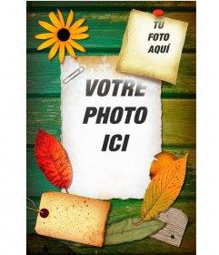 """Collage de mettre 2 photos dans quelques feuilles sur le bois décorées avec des fleurs et des feuilles d""""arbres"""