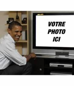 Photomontage de mettre Barack Obama avec votre photo où le président apparaît sur un téléviseur à côté delle