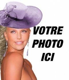 Créer des photomontages avec Charlize Theron gala vêtu dun violet robe et un chapeau assorti à côté de vous