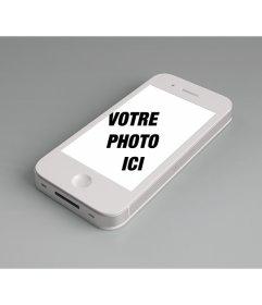 Photomontage pour ajouter une photo en ligne à lécran dun iPhone blanc et personnaliser avec une expression libre