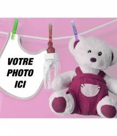 Photomontage avec un Soito dossard et bourré de mettre une photo de votre bébé nouveau-né avec un fond rose