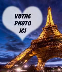 Photomontage à Paris avec la tour Eiffel illuminée et un cadre photo en forme de coeur semi-transparent dans le ciel de placer votre photo