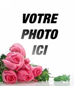 Photomontage avec des roses roses sur fond blanc dégradé pour placer vos photos romantiques