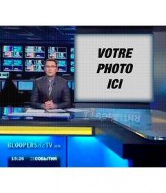 Photomontage à apparaître sur lécran dun téléviseur avec un présentateur