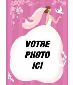 Carte de mariage de mettre une photo dans la robe de la mariée