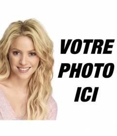 Photomontage avec Shakira blonde avec les cheveux longs ondulés pour mettre votre photo et texte