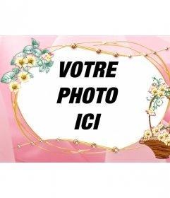 Cadre photo personnalisable avec une image de fond rose et corbeille de fleurs taillées