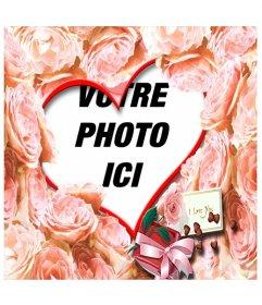 """Cadre en forme de coeur entourée de roses orange pour l""""amour. Un """"je t""""aime"""", idéal pour la Saint-Valentin"""
