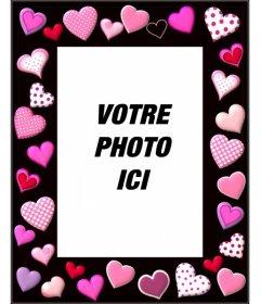 Cadre photo avec des coeurs roses et fond noir
