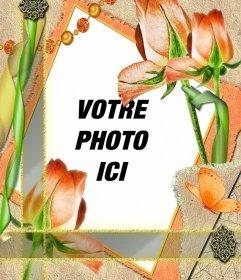Modèle de cadre avec des fleurs et votre photo