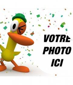 Pocoyo et de canard dans un parti amusant où vous pouvez mettre votre effet photo photo