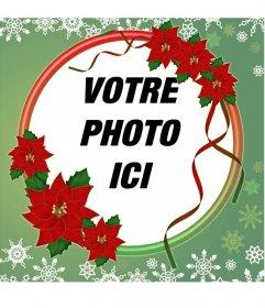 Cadre photo orné de fleurs de Noël de cadre rond pour des photos avec Poinsettia et flocons de neige, vous pouvez modifier en téléchargeant la photo de votre ordinateur ou mobile et avoir un beau bord décorer vos photos de Noël. Ce photomontage ajustement parfait comme votre photo de profil sur vos réseaux sociaux