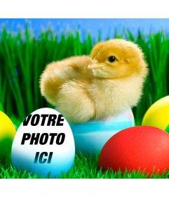 Placez votre photo sur cet oeuf de Pâques bleu