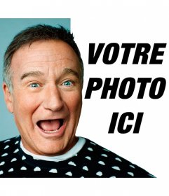 Sourire avec Robin Williams avec le photomontage acteur. Partager avec laffection de vos amis pour Robin Williams pour aller avec ce spectacle aux côtés de lacteur