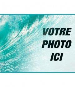 Décorez votre profil Facebook avec une couverture personnalisée avec votre photo et le bleu de la mer avec une grosse vague