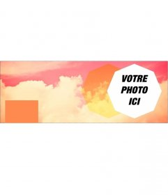 Photomontage dune photo de couverture pour Facebook avec des nuages roses
