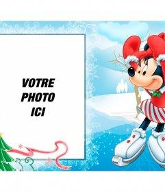 Carte postale de Noël avec votre enfant photo et Minnie