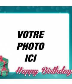 """Carte postale d""""anniversaire avec cadre bleu turquoise à féliciter l""""anniversaire de vos amis et votre famille"""