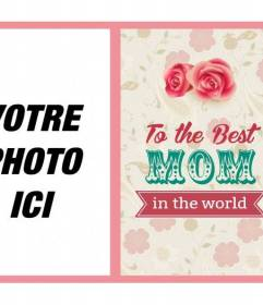 Alemánfrancésitaliano Fête des Mères cartes postales à la meilleure mère du monde avec des roses et des fleurs pour mettre votre photo