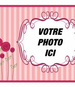Carte postale Fête des Mères avec un fond rose avec des fleurs pour mettre votre photo et texte pour la féliciter