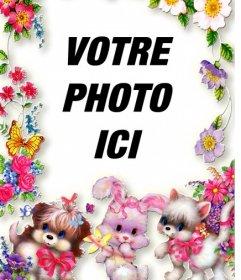 """Cadre photo avec des fleurs et des chiots. Téléchargez votre photo et le mettre dans l""""arrière-plan"""