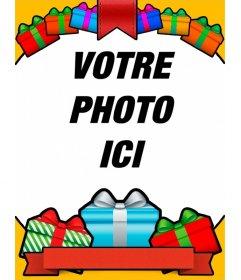 Carte danniversaire avec des cadeaux colorés pour vos photos