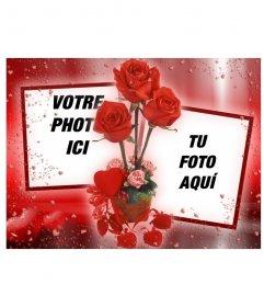 Cadre photo où vous pouvez mettre deux images qui semblent reliés entre eux par des roses. fond rouge avec des coeurs
