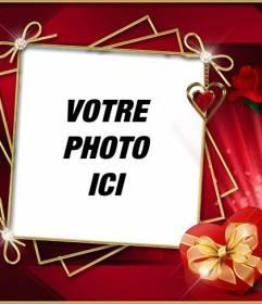 Cadre photo avec un fond rouge élégant avec des roses et de diamants. Pour mettre votre photo