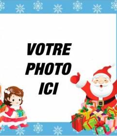 Enfants cadre avec le Père Noël et ses deux enfants à mettre une carte photo