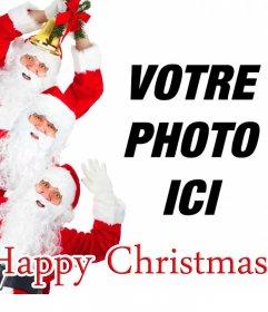 Carte féliciter de Noël dans lequel 3 Père Noël souhaitent un joyeux Noël et vous pouvez ajouter votre photo