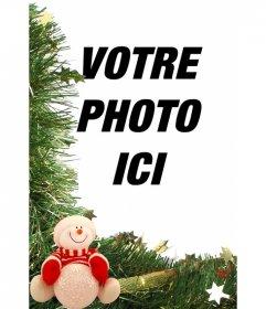 Carte de Noël avec des ornements de bonhomme de neige et de mettre votre photo