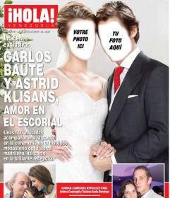 """Photomontage dans lequel vous pouvez apparaître sur le magazine """"Bonjour"""" couverture avec votre partenaire vêtues de robes de mariage avec robe blanche de mariée et costume de mariage"""