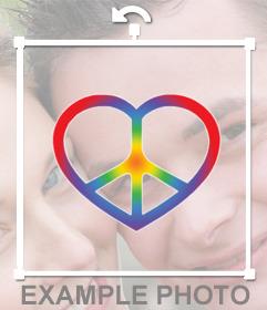 Autocollant de symbole de paix et un coeur pour votre photo sur