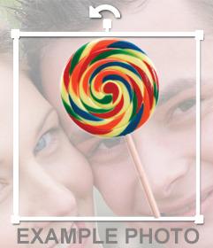 Lollipop avec des couleurs à coller sur vos photos