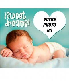 Carte avec un bébé et un message