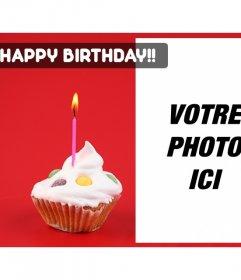 Créer une carte danniversaire avec la photo que vous voulez avec un fond rouge et un petit gâteau avec une bougie sur un côté vous