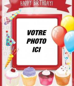 Carte danniversaire avec des gâteaux sucrés et de la décoration festive avec des ballons et cadre rouge de mettre une photo
