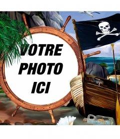 Composition avec un drapeau de pirate, un navire et trésors, pour mettre votre photo sur un gouvernail. Docks